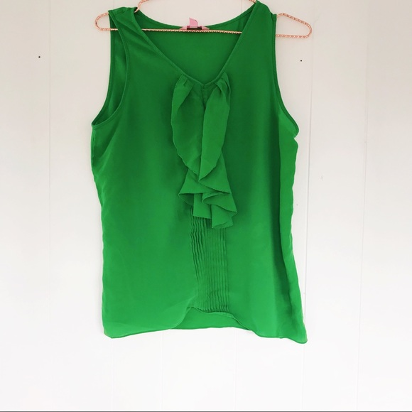 1ad1060c6ee3b Lilly Pulitzer Tops - Lily Pulitzer ruffle front silk tank